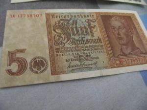 5 mark reichbanknote 1942